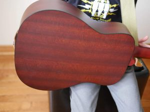 Back of guitar showing the mahogany wood