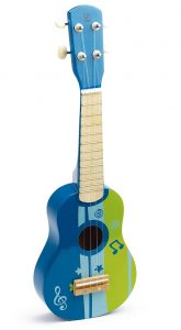 Blue and green painted small Hape guitar