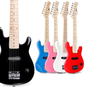 Black WINZZ 30 Inches Real Kids Electric Guitar with Beginner Kit